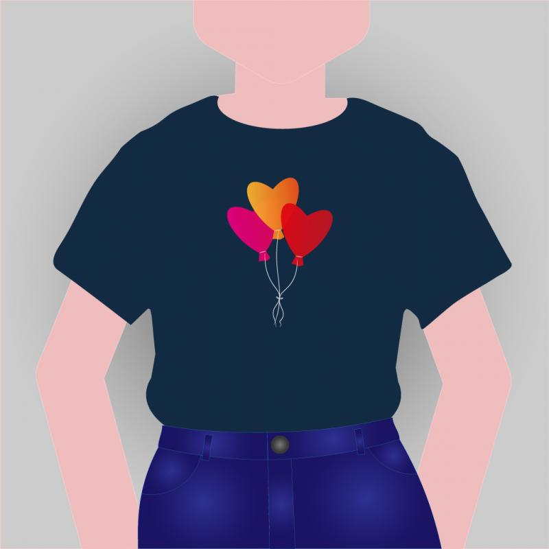 T-shirt met hartjesballonnen